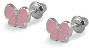 Ice Silver Pink Enameled Bow Children's Screw Back Earrings For Girls