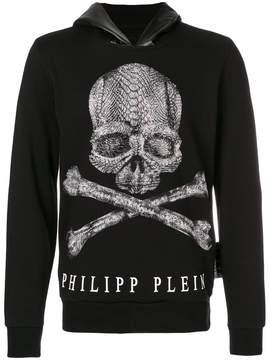 Philipp Plein rhinestone skull print hoodie