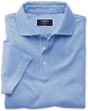 Charles Tyrwhitt Light Blue and White Birdseye Cotton Polo Size Small