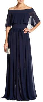 Dress the Population Violet Off the Shoulder Chiffon Gown