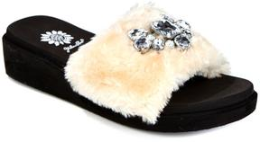 Yellow Box Boone Faux Fur Embellished Slide Sandal