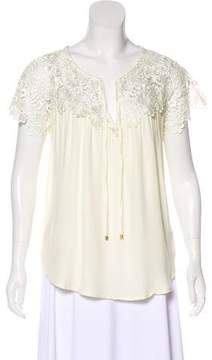 Ella Moss Lace-Accented Short Sleeve Top