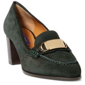 Ralph Lauren Eline Calf-Suede Loafer Green 6.5