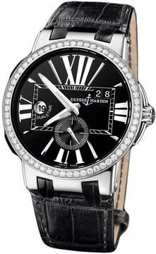 Ulysse Nardin Executive Dual Time Black Dial Diamond Bezel Black Leather mens Watch 243-00B-42