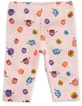 Fendi Girls' Monster Pompom Graphic Leggings, Size 12-24 Months