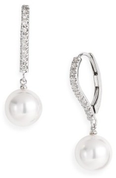 Mikimoto Women's Diamond & Akoya Cultured Pearl Earrings