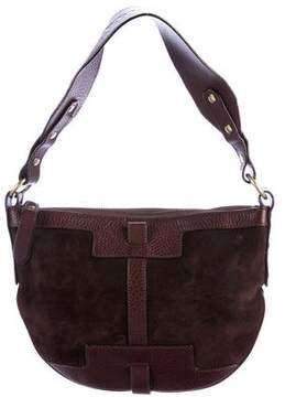 Burberry Suede Leather-Trimmed Shoulder Bag