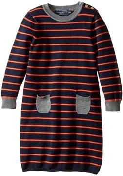 Toobydoo Orange Stripe Sweater Dress (Infant/Toddler)