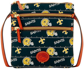 Dooney & Bourke New Orleans Saints Nylon Triple Zip Crossbody - BLACK - STYLE