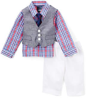 Izod Blue & Red Button-Up Set - Infant