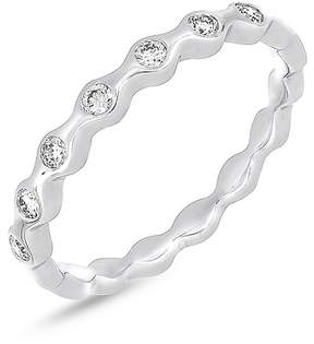 Bony Levy 18K White Gold Bezel Set Diamond Scalloped Ring - 0.16 ctw