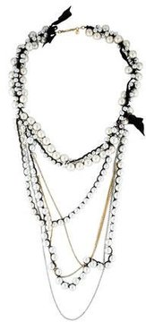 Chan Luu Faux Pearl & Crystal Multistrand Necklace