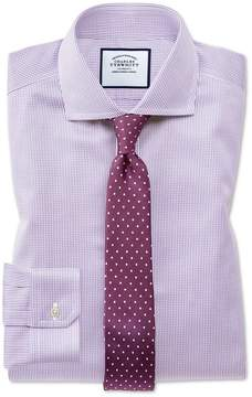 Charles Tyrwhitt Super Slim Fit Spread Collar Non-Iron Puppytooth Lilac Cotton Dress Shirt French Cuff Size 14.5/33