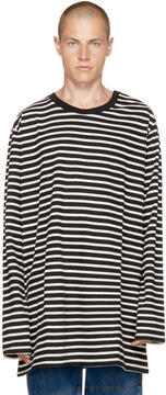 Faith Connexion Black and Off-White Striped Sailor T-Shirt