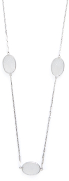 Elizabeth Showers Women's Silver & Milky Quartz Station Chain Necklace