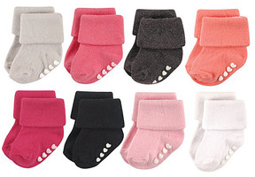 Hudson Baby Pink & Black Gripper Eight-Pair Cuffed Socks Set - Infant