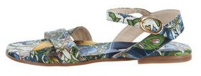 Dolce & Gabbana Girls' Abstract Print Satin Sandals