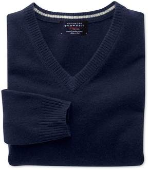 Charles Tyrwhitt Navy Cashmere V-Neck Sweater Size XS