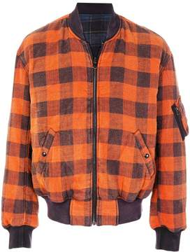 R 13 checked bomber jacket
