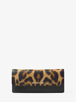 Michael Kors Jet Set Travel Leopard Saffiano Leather Wallet - BROWN - STYLE