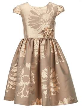 Bonnie Jean Little Girls 2T-6X Metallic Floral Fit-And-Flare Dress