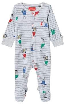 Joules Grey Bear Print Stripe Babygrow
