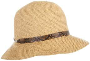 Nine West Womens Reptile Print Band Cloche Hat One Size Natural beige