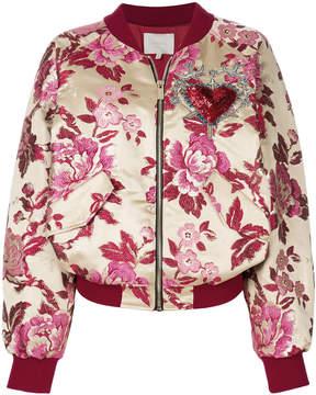 Amen embroidered floral bomber jacket