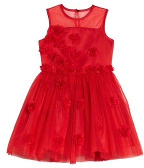 Nanette Lepore Girl's Floral Embellished Sleeveless Dress