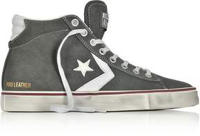 Converse Limited Edition Pro Leather Vulc Mid Distressed Gray Suede Sneakers