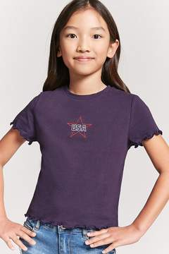 Forever 21 Girls Embroidered USA Tee (Kids)