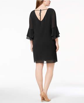 BCX Trendy Plus Size Chiffon Necklace Dress