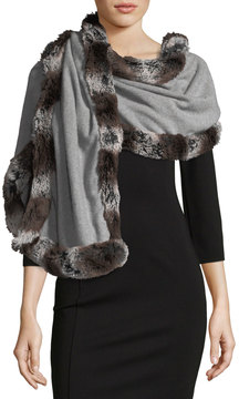 Neiman Marcus Faux-Fur Trimmed Knit Wrap