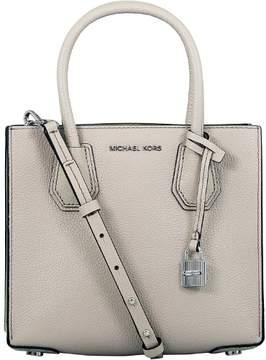 Michael Kors Women's Medium Mercer Bonded Leather Tote Shoulder Bag - Cement - CEMENT - STYLE