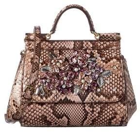 Dolce & Gabbana Sicily Mini Python Satchel. - PINK MULTI - STYLE