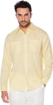 Cubavera 100% Linen Long Sleeve 2 Pocket Button Down Shirt