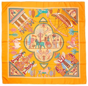 Hermes Women's Vintage Silk Orange Persep Scarf 90