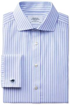 Charles Tyrwhitt Extra Slim Fit Spread Collar Non-Iron Stripe White and Sky Blue Cotton Dress Shirt French Cuff Size 16/36