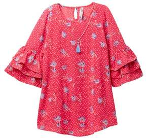Beautees Ruffle Sleeve Floral Dot Dress with Necklace (Big Girls)