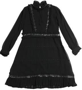 John Richmond Studded Georgette & Faux Leather Dress