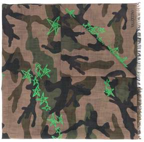 Valentino camouflage star print scarf