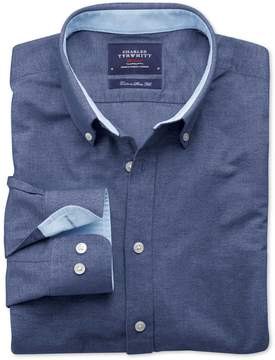 Charles Tyrwhitt Extra Slim Fit Denim Blue Washed Oxford Cotton Casual Shirt Single Cuff Size Small
