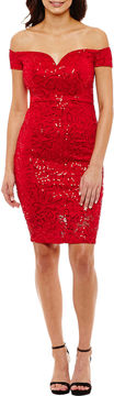 Bisou Bisou Sleeveless Sequin Sheath Dress