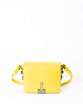 Off-White Leather Flap Crossbody Bag with Binder-Clip Detail