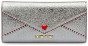 Miu Miu madras wallet with love logo