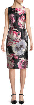 David Meister Floral Sleeveless Sheath Dress