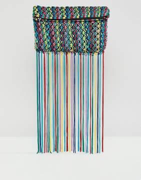 Asos DESIGN Multi Colored Tassel Clutch Bag