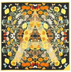 Aspinal of London Botanical A Silk Scarf In Black Gold