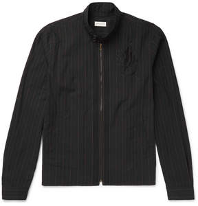 Dries Van Noten Embroidered Pinstriped Cotton Jacket