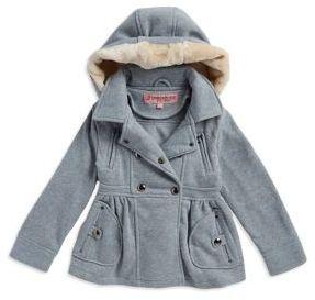 Urban Republic Little Girl's Faux Fur Hood Heathered Knit Jacket